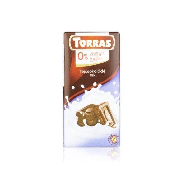 Torras Tejcsokoládé hozáadott cukor nélkül 75 g
