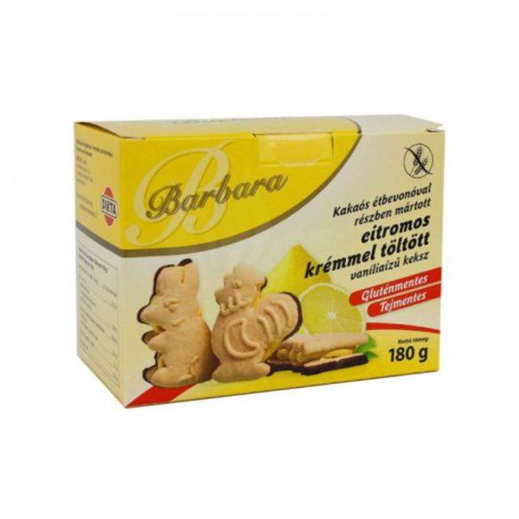 Barbara gluténmentes kakaós étbevonóval részben mártot citromos krémmel töltött vanília ízű keksz 180 g
