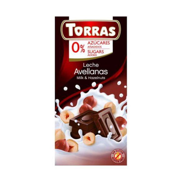 Torras Mogyorós tejcsokoládé hozáadott cukor nélkül 75 g