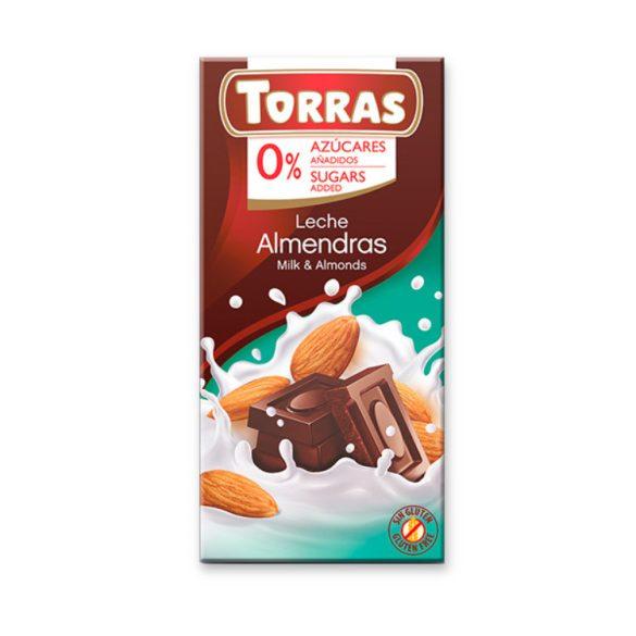 Torras gluténmentes tejcsokoládé mandula édesítőszerrel 75 g